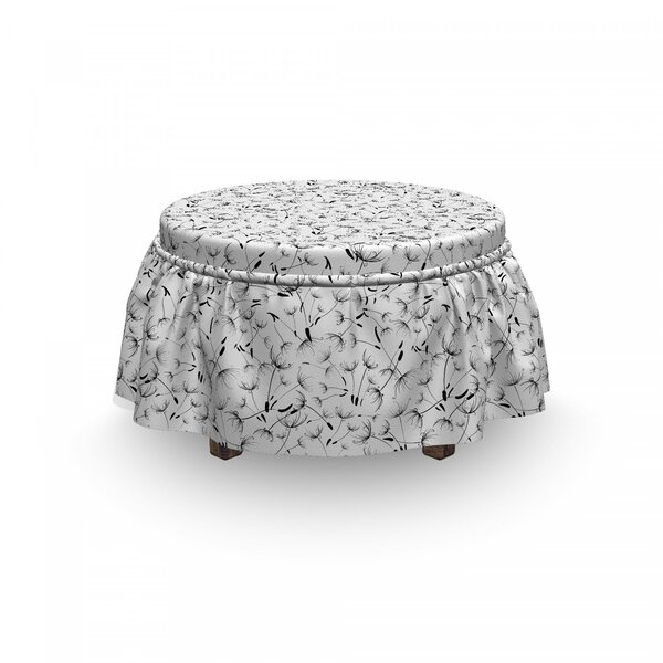 Monochrome Flower Ottoman Slipcover (Set Of 2) By East Urban Home