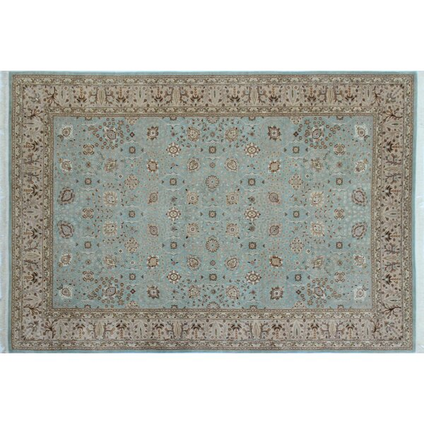 Ankara Amaan Hand Knotted Wool Light Blue Area Rug by World Menagerie