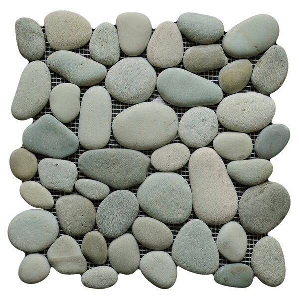 River Random Sized Natural Stone Pebble Tile in Green by Pebble Tile
