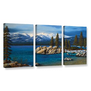 'Winter at Sand Harbor Lake Tahoe' 3 Piece Painting Print on Wrapped Canvas Set by Loon Peak