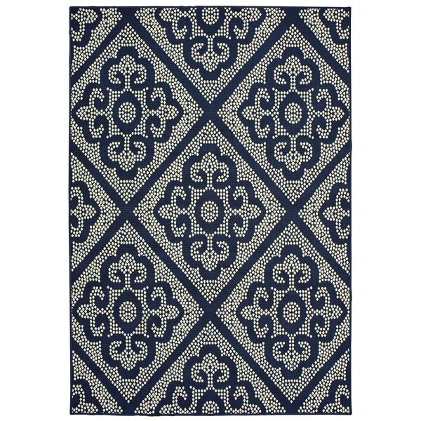 Salerno Floral Scroll Lattice Navy/Ivory Indoor/Outdoor Area Rug by Charlton Home