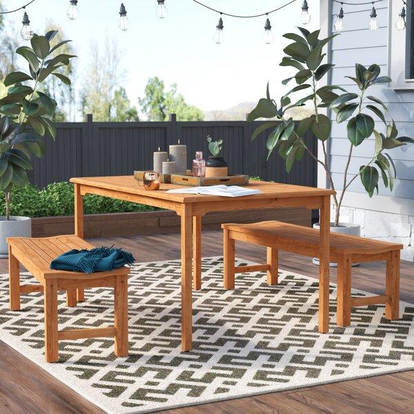 Elsmere 3 Piece Teak Dining Set by Beachcrest Home