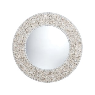 Rosecliff Heights Dublin Floral Pattern Clam Shell Framed Wall Mirror