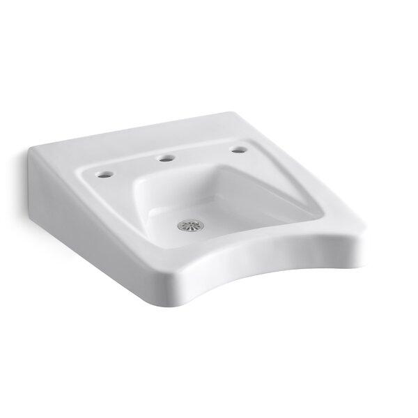 Morningside Ceramic 20 Wall Mount Bathroom Sink with Overflow