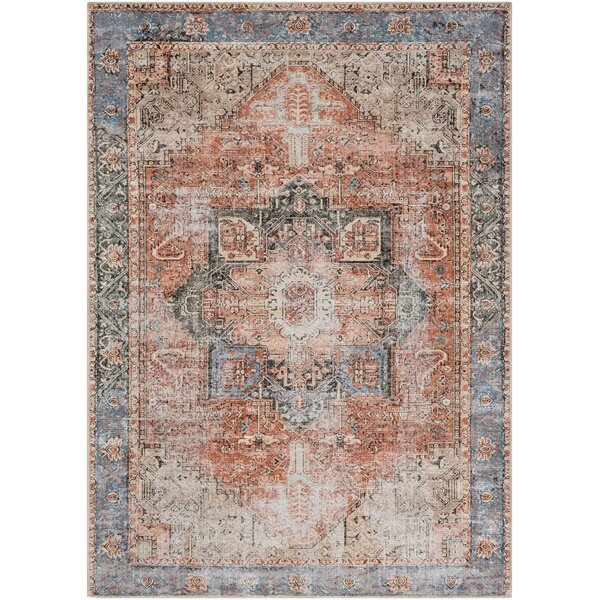 Mya Distressed Traditional Tan/Blue/Ivory Indoor/Outdoor Area Rug by World Menagerie