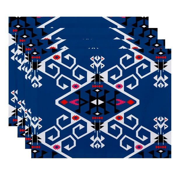 Meetinghouse Jodhpur Medallion Geometric Print Placemat (Set of 4) by Bungalow Rose