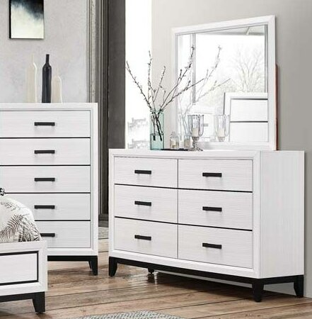 Wallis 6 Drawer Double Dresser with Mirror by Ebern Designs Ebern Designs