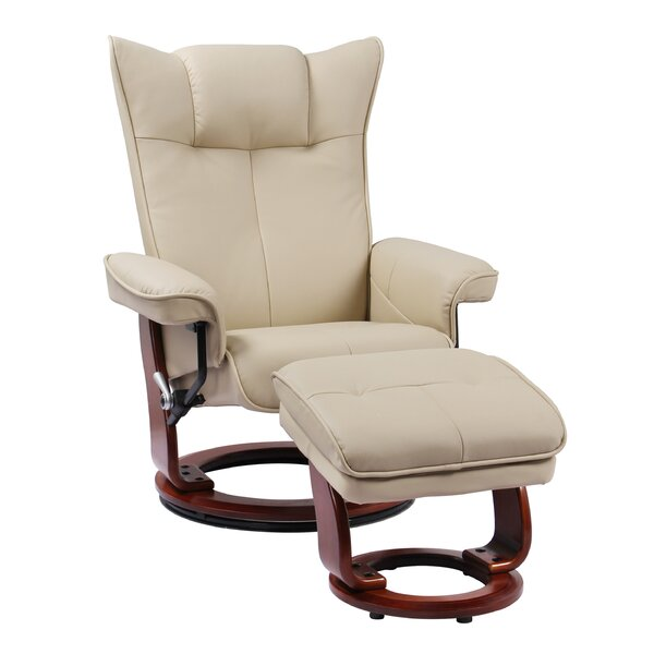 Temescal Leather Manual Swivel Recliner With Ottoman By Red Barrel Studio