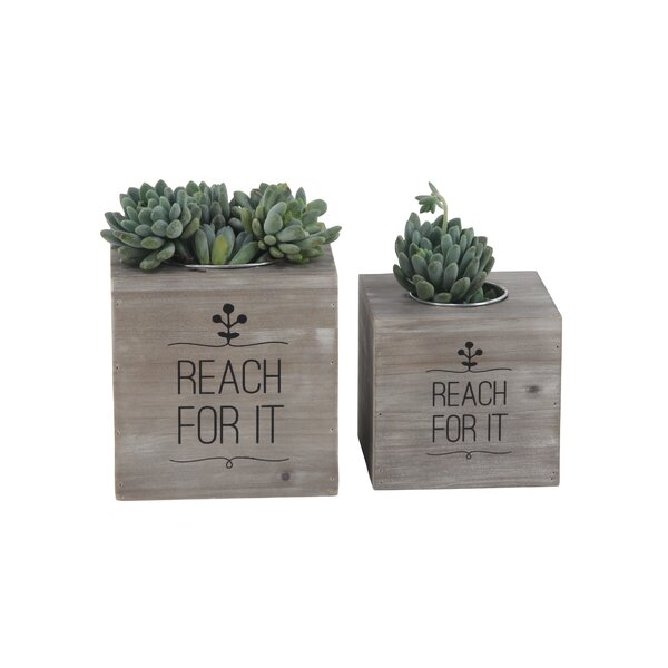 Matsuda Rustic 2-Piece Wood Planter Box Set by Wrought Studio