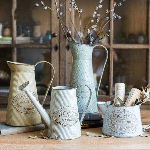 Toddington Rustic Kettle Style Flower 4-Piece Metal Pot Planter Set by Gracie Oaks