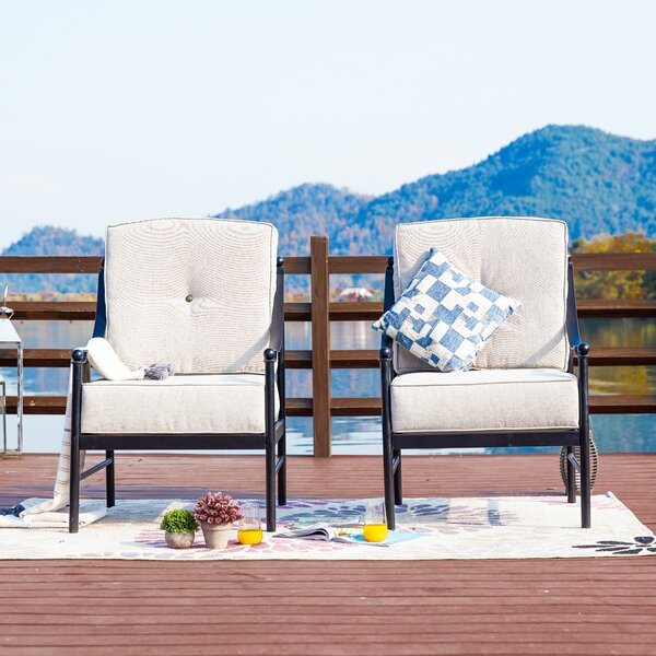 Richards Outdoor Patio Chair with Cushions (Set of 2) by Alcott Hill