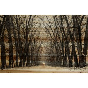 'Tree Path' by Parvez Taj Painting Print on Natural Pine Wood by Mercury Row