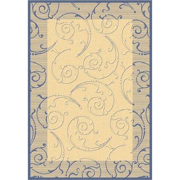 Alberty Natural / Blue Outdoor Area Rug by Three Posts
