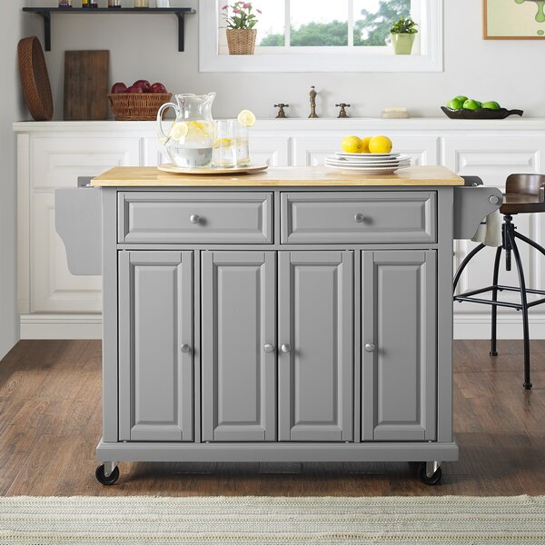 Hedon Kitchen Island with Natural Wood Top by Three Posts