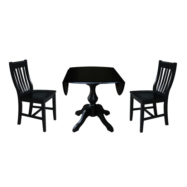 Pattie 3 Piece Drop Leaf Solid Wood Dining Set by Canora Grey