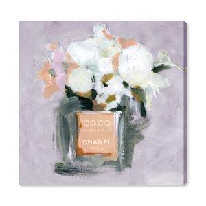 'L'Eau de Rose Lavender' Watercolor Painting Print on Canvas by Oliver Gal
