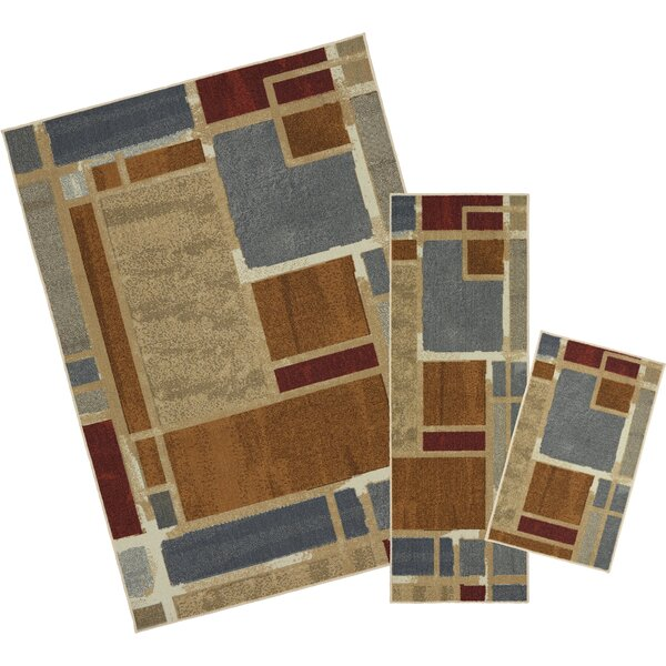 Pill 3 Piece Gray/Brown Area Rug Set by Latitude Run