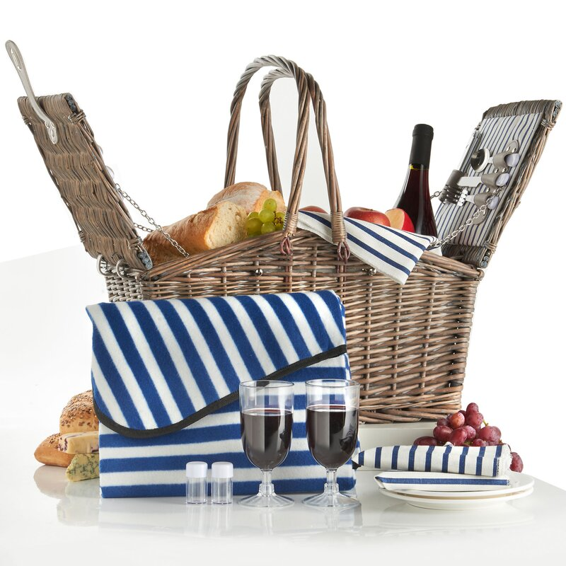 Deluxe 2-Person Folding Handle Picnic Basket
