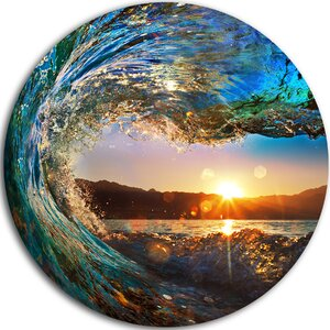 'Colored Ocean Waves Falling Down' Photographic Print on Metal by Design Art