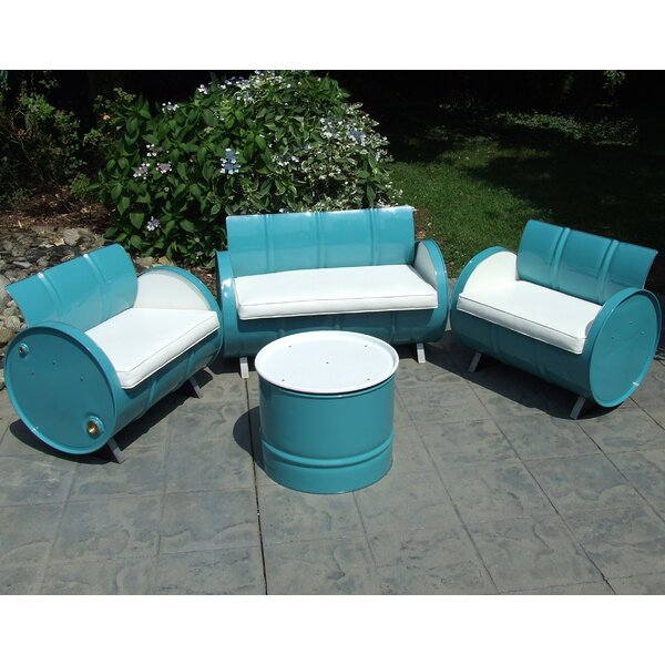 Del Ray 4 Piece Sofa Set with Cushions by Drum Works Furniture