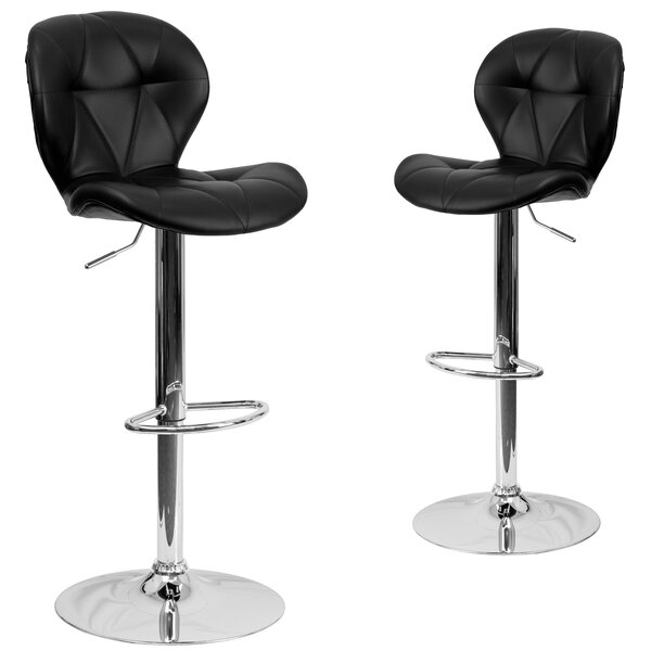 Cillian Adjustable Height Swivel Bar Stool (Set of 2) by Wrought Studio