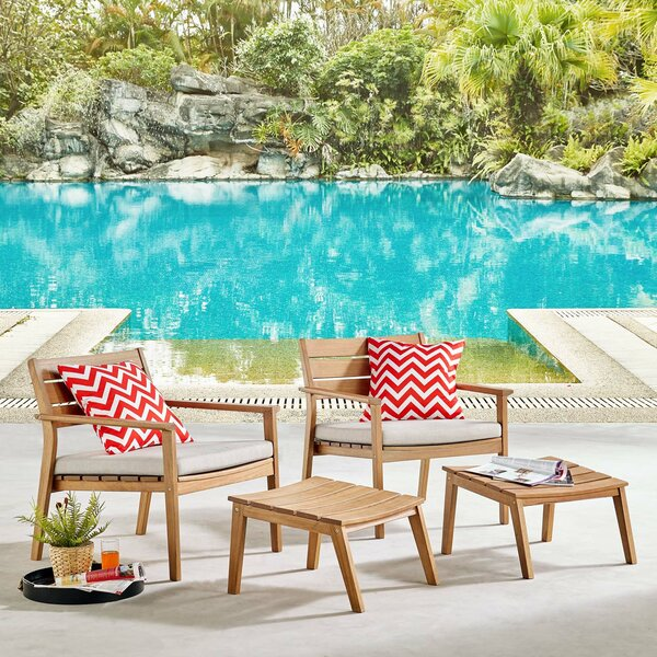 Emrys Patio Chair with Cushions and Ottoman by Rosecliff Heights