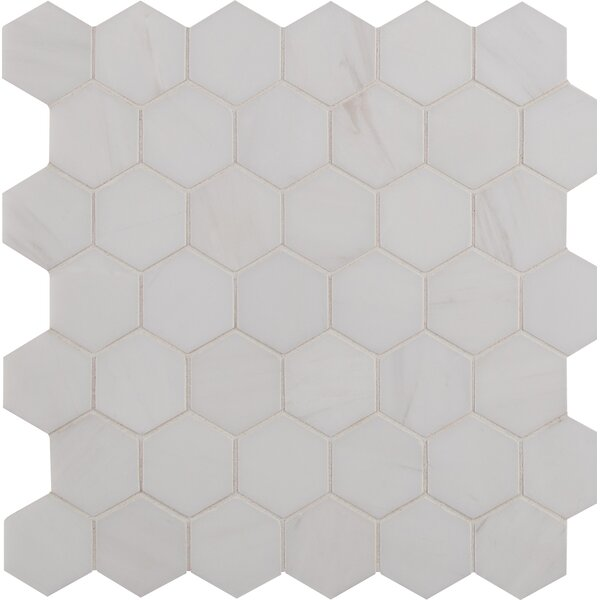 Bianco Dolomite 2 x 2 Marble Mosaic Tile in White by MSI