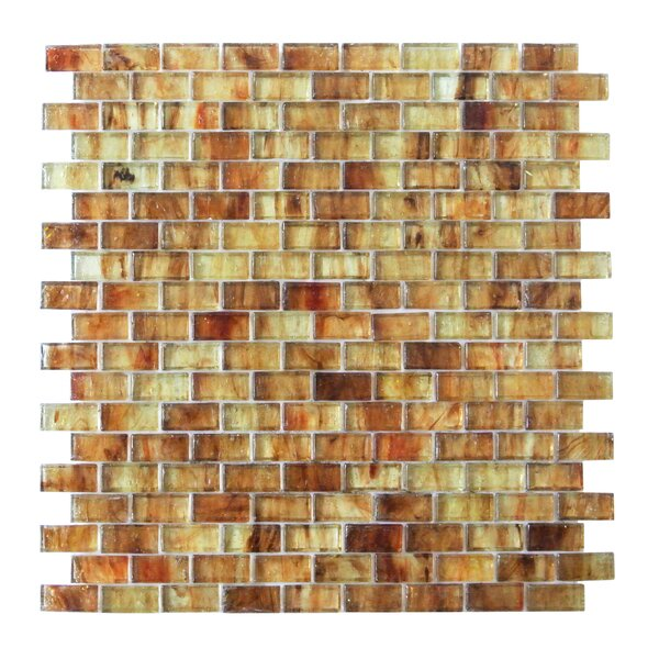 LEED Amber 0.63 x 1.25 Glass Mosaic Tile in Sand by Abolos