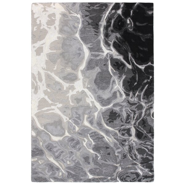 Groce Hand-Tufted Wool Black/White Area Rug by Williston Forge