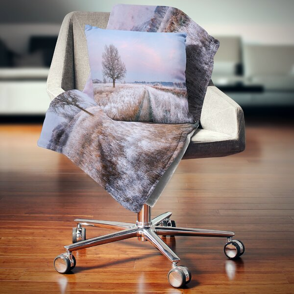 Landscape Printed Dry Oak Tree in Winter Panorama Pillow by East Urban Home