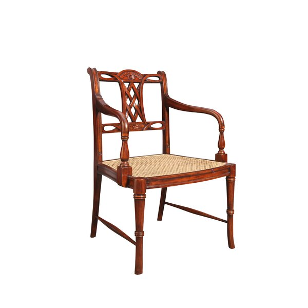Barbados Solid Wood Queen Anne Back Arm Chair in Brown by Manor Born Furnishings Manor Born Furnishings