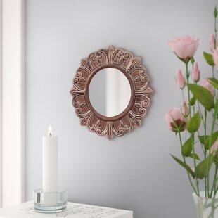 Three Posts Round Distressed Wall Mirror