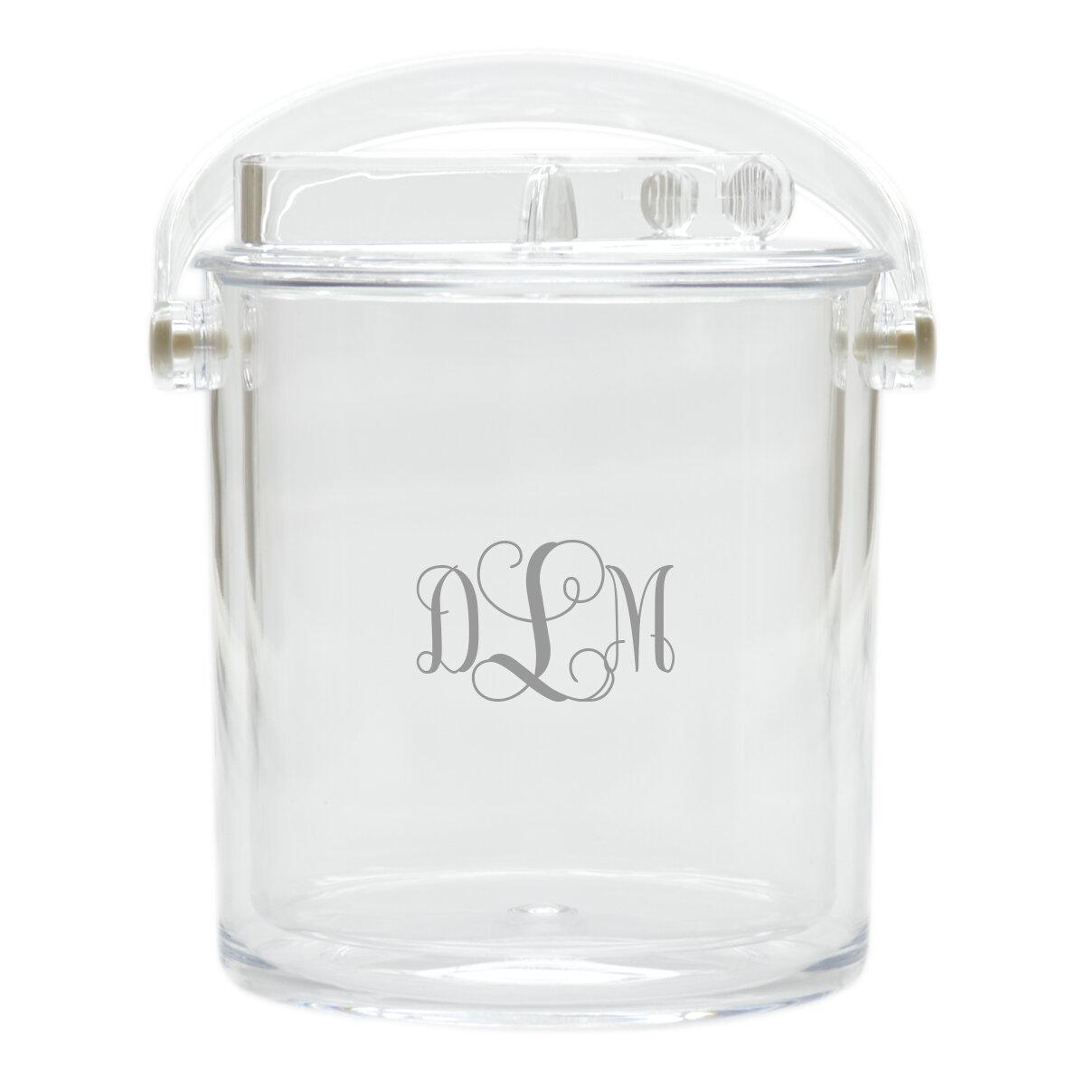 Monogrammed Acrylic Ice Bucket w Scoop