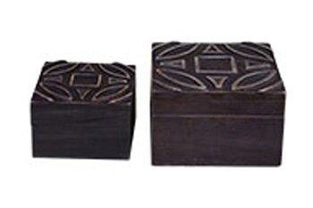 Black Wood Box Set (Set of 2) by World Menagerie