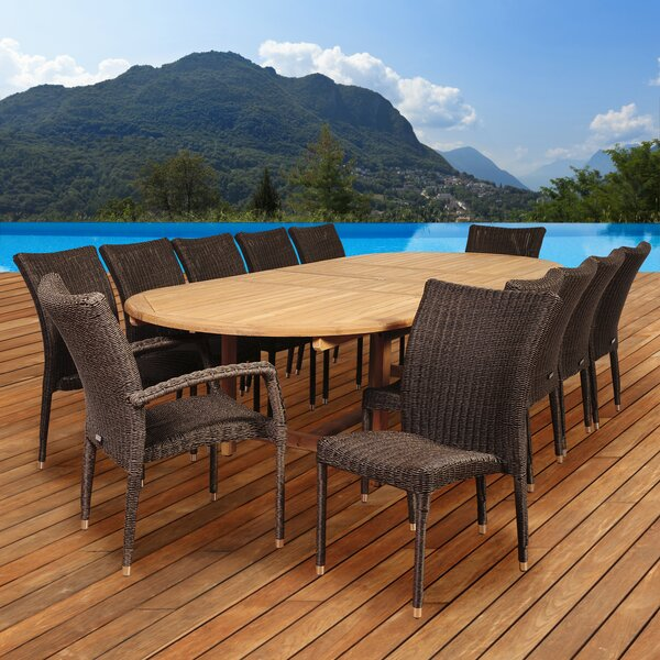 Elsmere 13 Piece Teak Dining Set by Beachcrest Home