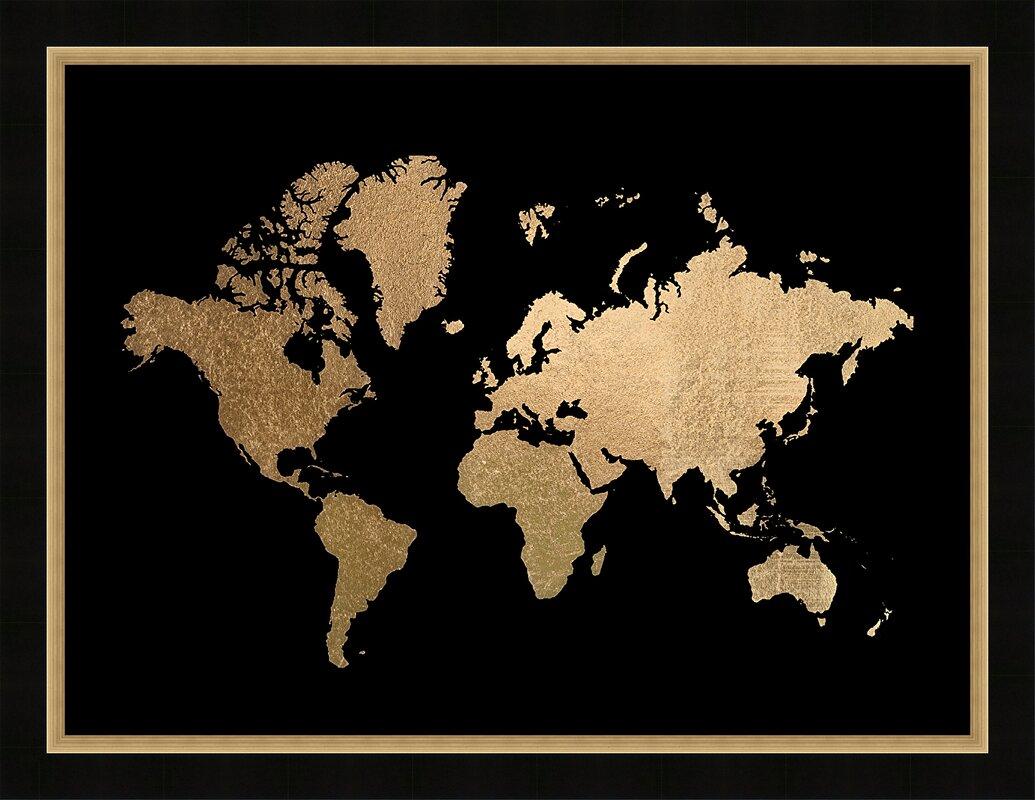 Brayden studio gold foil world map framed graphic art print gold foil world map framed graphic art print gumiabroncs Image collections