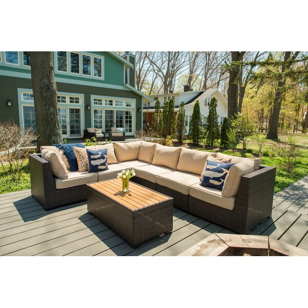 Darden 7 Piece Rattan Sectional Seating Group with Cushions by Rosecliff Heights