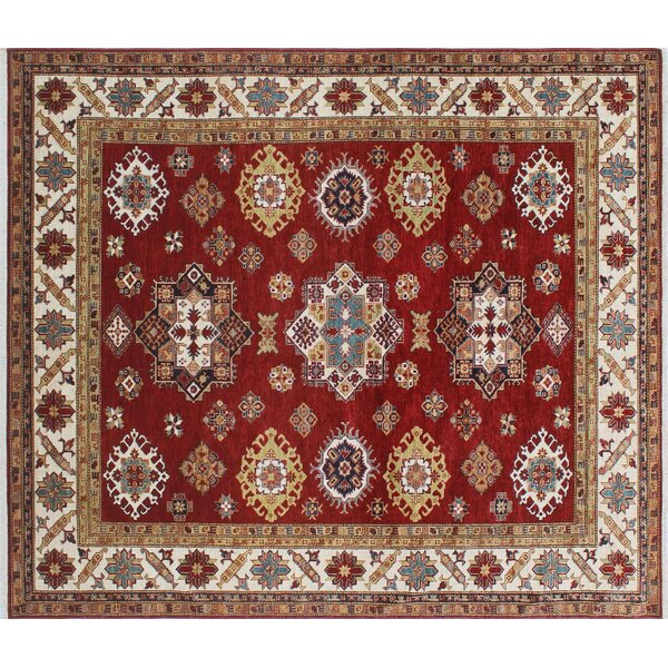 One-of-a-Kind Bronzewood Geometric Hand-Knotted Wool Red Area Rug by Isabelline