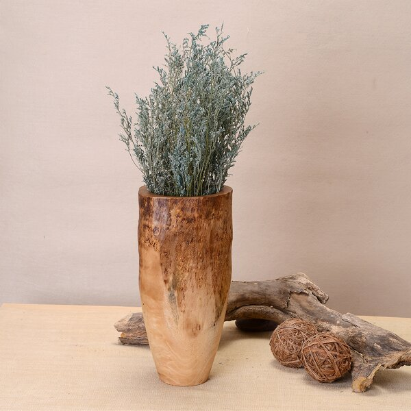 Deserie Hand Carved Natural Mango Wood Table Vase by World Menagerie