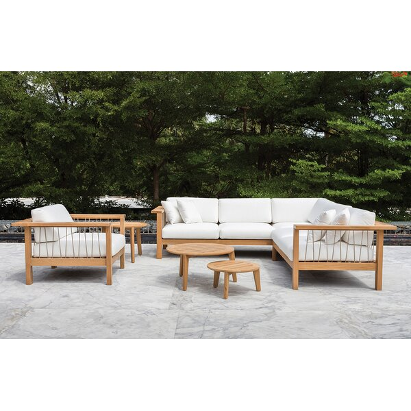 Maro 3 Piece Teak Sunbrella Sectional Set with Cushions by OASIQ