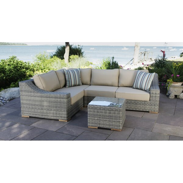 Corsica 5 Piece Rattan Sectional Seating Group with Cushions by Madbury Road