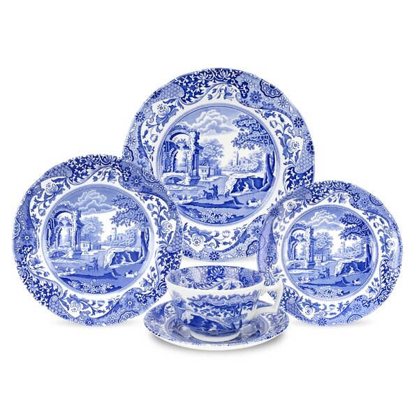 Blue Italian 5 Piece Place Setting, Service for 1