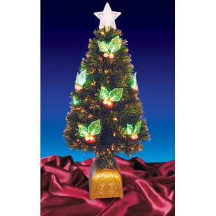 4 color changing fiber christmas tree with led holly berries