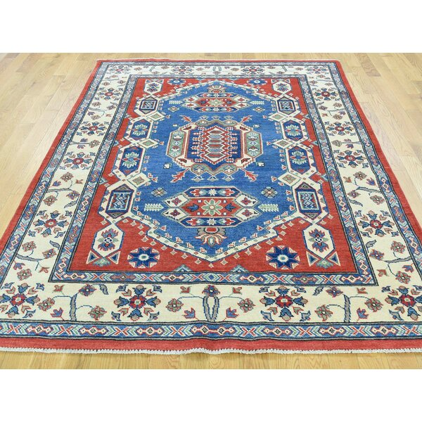 One-of-a-Kind Berning Kazak Tribal Geometric Design Handwoven Blue Wool Area Rug by Isabelline