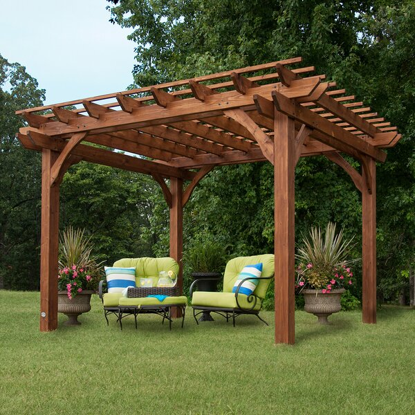 Cedar 12 Ft. W x 10 Ft. D Solid Wood Pergola by Backyard Discovery
