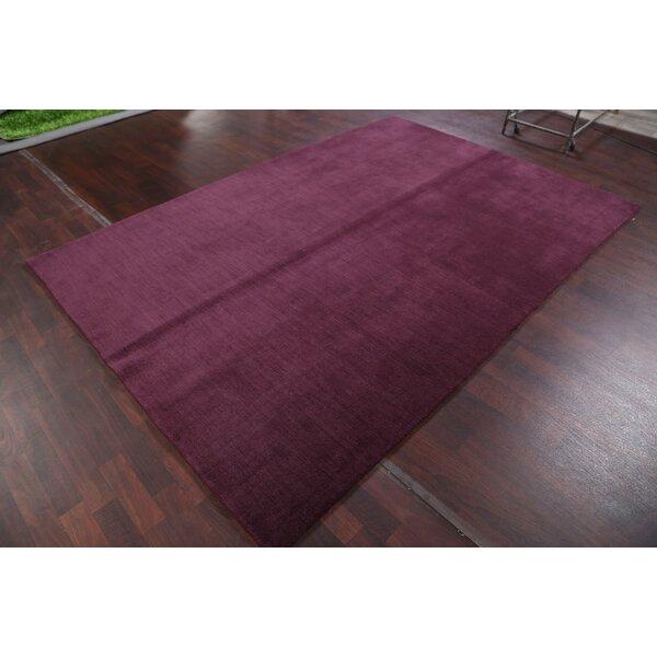 Seidman Indian Oriental Hand-Knotted Wool Purple Area Rug by Bloomsbury Market