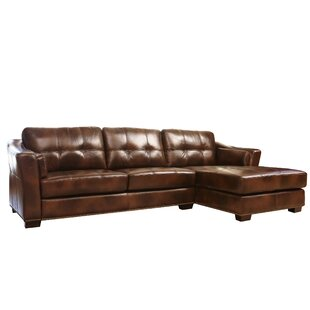 Davis Right Hand Facing Leather Sectional By Abbyson Living
