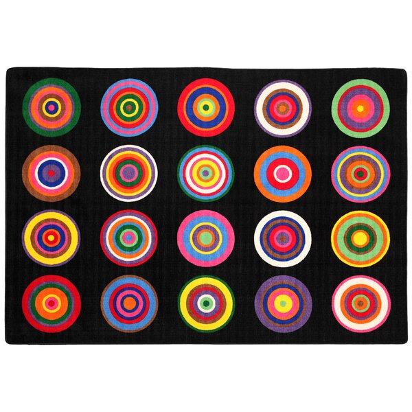 Color Rings Black/Pink Area Rug by Flagship Carpets