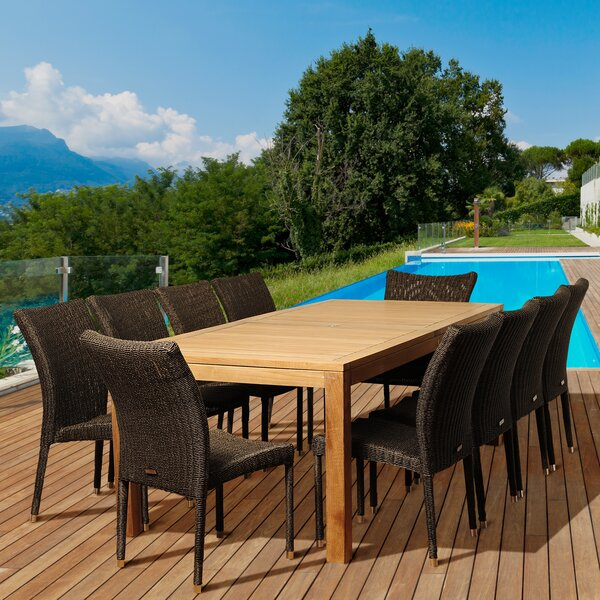 Florida International Home Outdoor 11 Piece Teak Dining Set Bayou Breeze W002482753