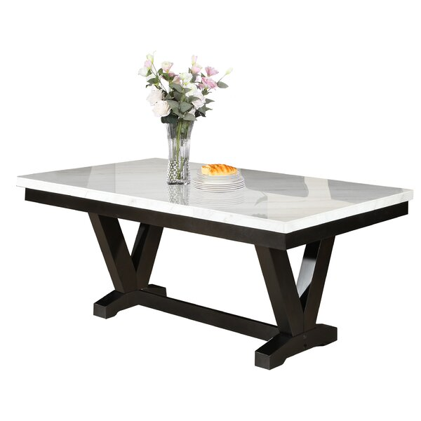 Cedric Marble Top Dining Table by Red Barrel Studio
